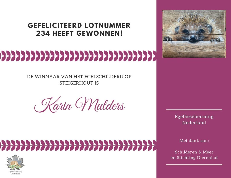 De winnaar van het mooie egelschilderij op steigerhout is bekend!
